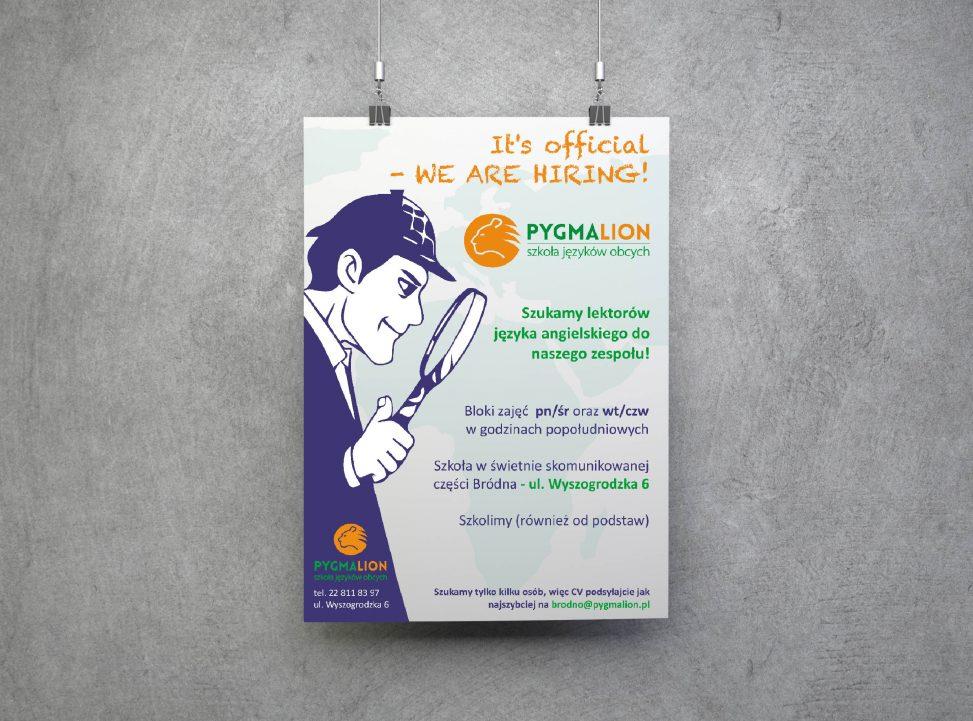 Plakat Ogłoszenie Dla Szkoły Językowej Pygmalion